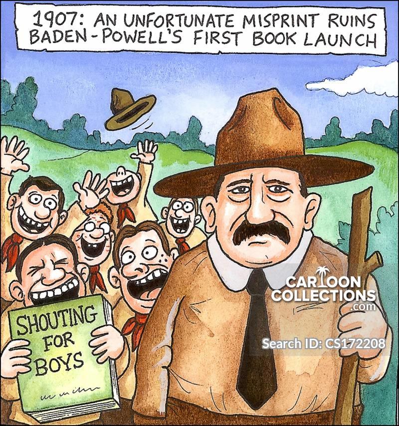 1907: An unfortunate mis-print ruins Baden-Powell's first book launch.